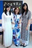 "Heather Carreiro's female students wearing traditional Vietnamese garments called ""ao dai"" at ISHCMC- American Academy"