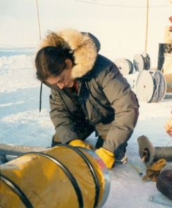 Robin Singer Tests Equipment in Arctic Ice Camp During Month-Long Stint Near the Arctic Circle While Working for Woods Hole Oceanographic Institution