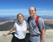 Ms. Singer likes the summers off made possible by a teaching career!  Here she is in California with her husband Tor Clark last summer