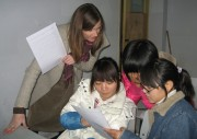 Christine McDowell with Students in China