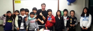 Colin McDonald with his class in Korea