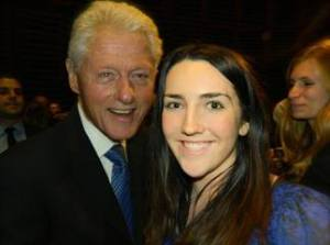 "Katie Curran with former U.S. president Bill Clinton at ""The Event of the Century"""