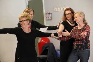 Marsha Yalden (left) in a workshop for theatre teachers