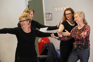 Marsha Yalden (left) in a workshop for theatre teachers