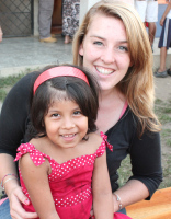 Meaghan and Kenia, a student in her first preschool class