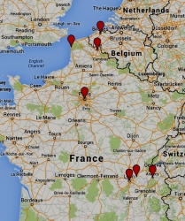 Map of France with points placed where I traveled