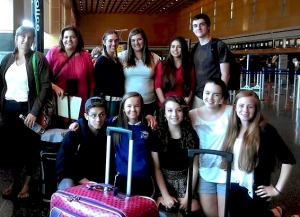 Sturgis Students with Madame O'Keefe at Logan Airport