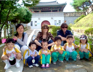 Christine and John with students in Cheongju, South Korea