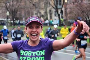 Lee Moynihan at Mile 25 of Boston Marathon