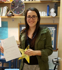 Katie Curran receives a gold star for turning in her EE