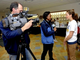Jen Walts is interviewed by media for 2010 Big Event