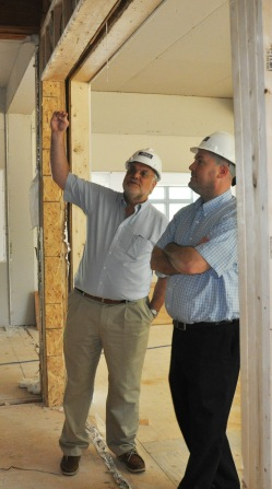 Eric Hieser and Pete Steedman check out Sturgis West construction June 15, 2012