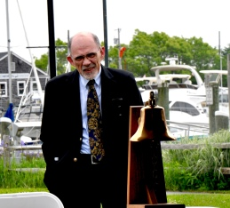 Arthur Pontes with Sturgis Ship's Bell at Hyannis Harbor