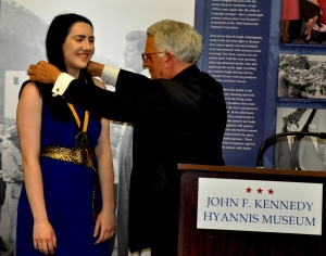 John Allen Presents Silver Medallion to Katie Curran 010