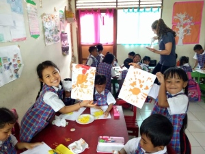 Finger painting at Kedewatan Kindergarten