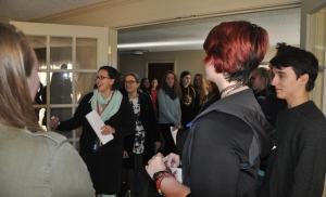 Jenna Arledge welcomes a student tour to the Nurse's Office