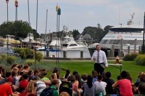 Paul Marble Speaks with freshmen at Aselton Park